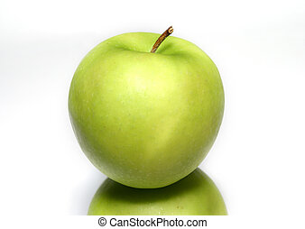 green apple over another apple with a pale background