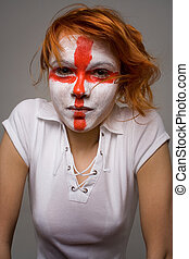 English football makeup girl