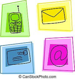 communication icons - forms of communication in simple icon...
