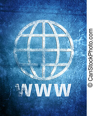 Old Web Grunge - a weathered World Wide Web Globe on grunge...