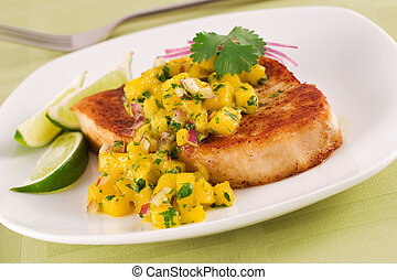 Swordfish - Broiled swordfish with mango salsa and lime