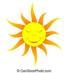 Cartoon sun gradient color - A cartoon-like smiling sun,...