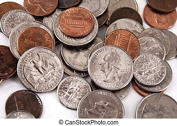 Spare Change - spare - change - US coins on white background