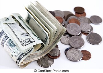 Pocket Money - spare change - coins and bills on white...