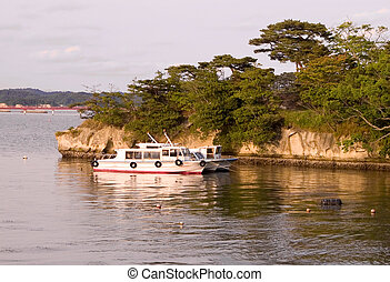 Holiday resort - Dusk landscape with yachts at Matsushima...