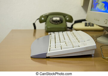Computer - Workplace for computer - corner of keyboard on...
