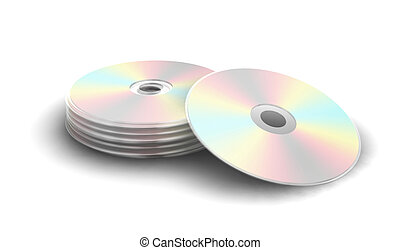 Compact disks - 3D render of a stack of cds isolated on...