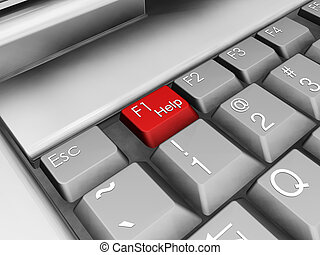 Help - 3D render of a laptop keyboard with focus on red help...