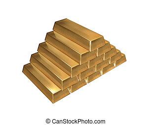 Gold ingots isolated - 15 gold bars in stack isolated with...
