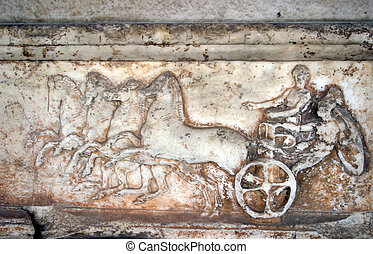Ancient greek bas-relief - Chariot drawn by four horses -...