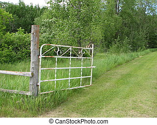 Open Gate Road - Lush green garden raod with open gate...