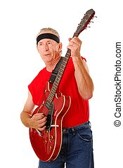 Old Time Rocker 2 - Senior rockin\\\' on an electric guitar