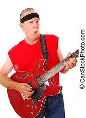 Old Time Rocker 3 - Senior rockin on an electric guitar
