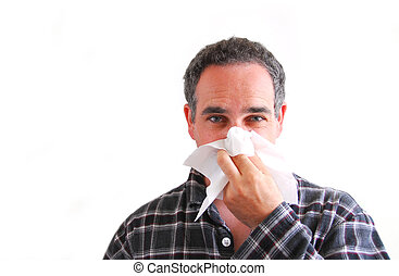 homem, gelado, soprando, nariz