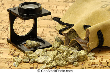 Gold Nugget - Loupe and Gold Nuggets