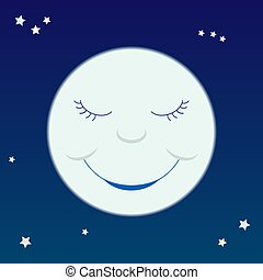 Cartoon moon - A cartoon-like smiling moon on a starry sky