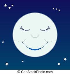 Cartoon moon - A cartoon-like smiling moon on a starry sky.