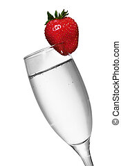 Strawberry Champagne - Black and white champagne with color...