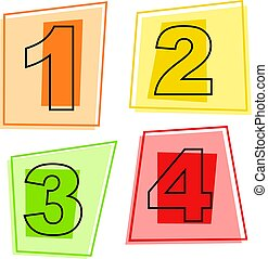 number icons - numbers one to four