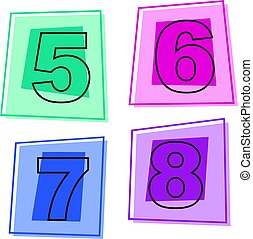 number icons - numbers five to eight
