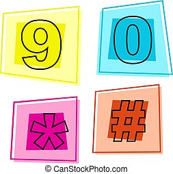 number icons - number nine, zero, star and hash symbol