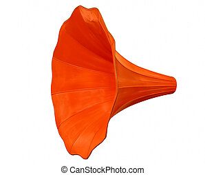 Gramophone funnel-clipping path - Gramophone funnel isolated...