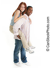 Diverse Couple - Young interracial couple; full body