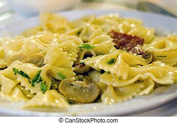 Cream Pasta - Pasta cooked in cream sauce closeup