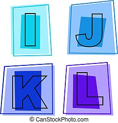alphabet icons - letters of the alphabet - i, j, k, l