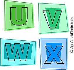 alphabet icons - letters of the alphabet - u, v, w, x