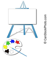 Art easel with paint palette