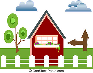 Fenced house - House with white fence