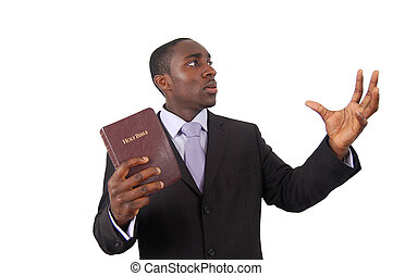 Preacher Man - This is an image of man holding a bible, as...