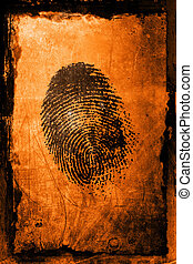 Finger Print - A fingerprint on a textured grunge background
