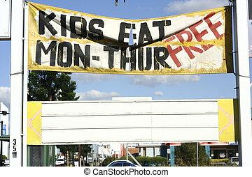 Kids Eat Free - Old Signage of Kids Eat Free