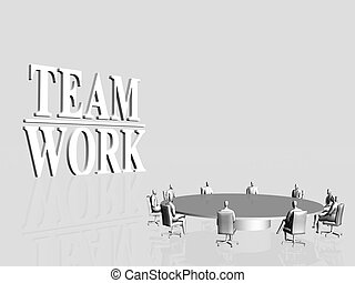 Team Work, conference - 3D illustration, background...