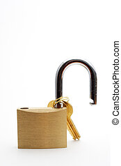 Padlock and key isolated on white