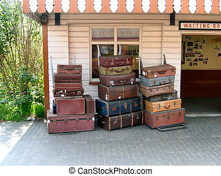 old luggage - old trunks and suitcases at a tourist steam...