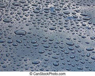 drops on car - drops on blue car