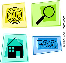 internet icons - email, search, home, frequently asked...