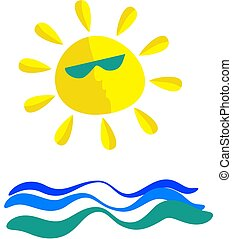 sunny sea - wavey sea and sun icon