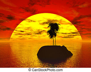Tropics - Sunset in the tropics, an island with palms.
