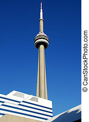 CN Tower in Toronto, deep blue sky background