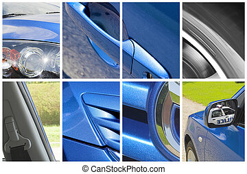 car collage - car body parts