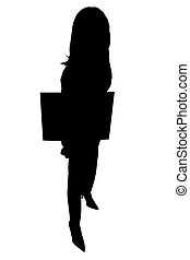 Silhouette of Woman with Sign - Silhouette over white of...