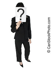 Confused - Young business woman with question mark in front...