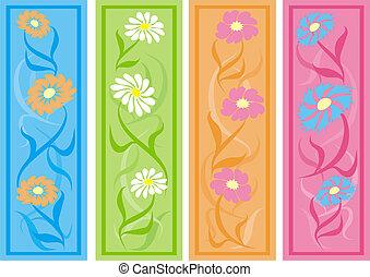 Floral bookmarks, vector - Floral bookmarks, illustration