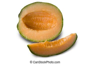Cantaloupe - an opened cantaloupe