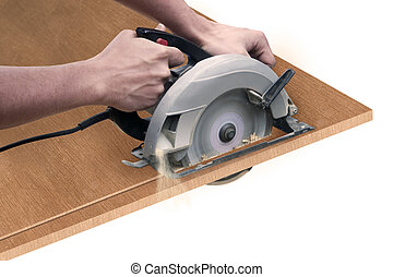 Carpenter with Saw - someone cutting a board with a circular...
