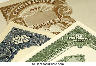 Stock Certificates - Photo of Stock Certificates
